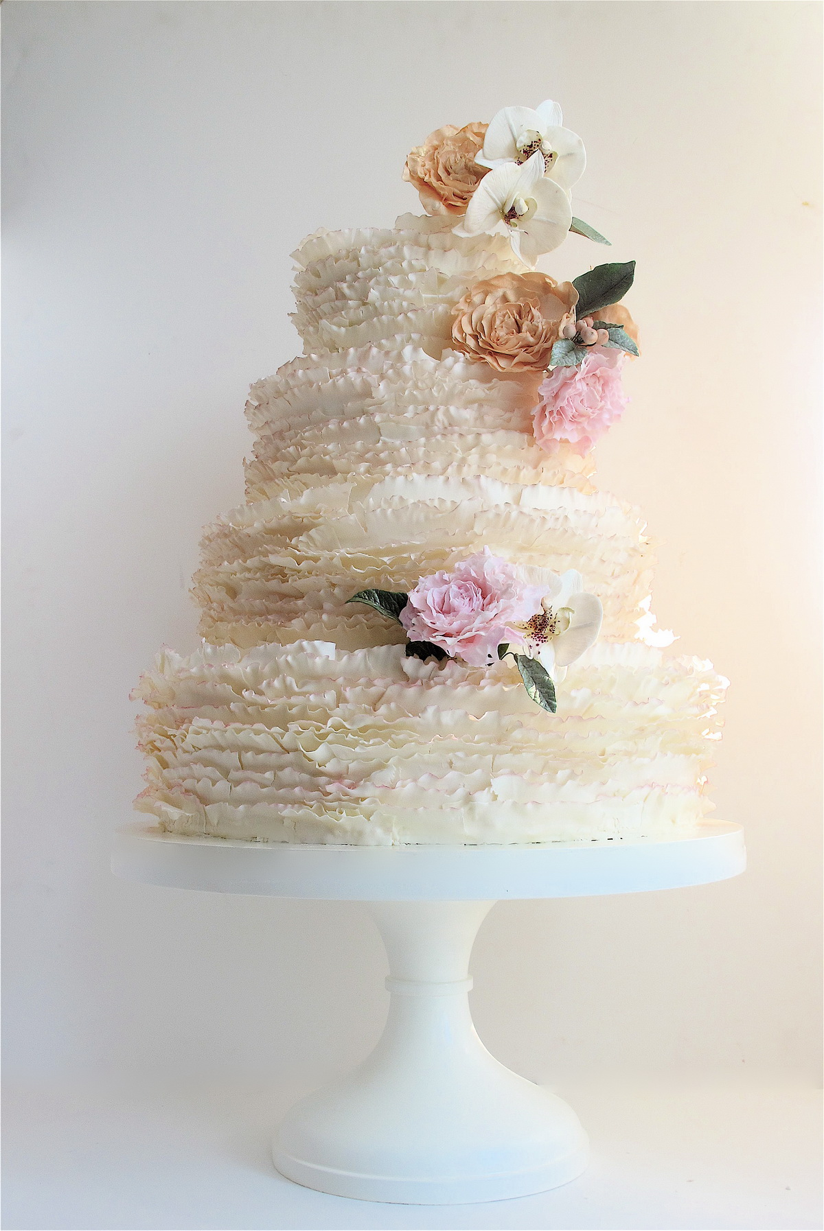 ivory frills with peonies and orchids  - Maggie Austin Cake