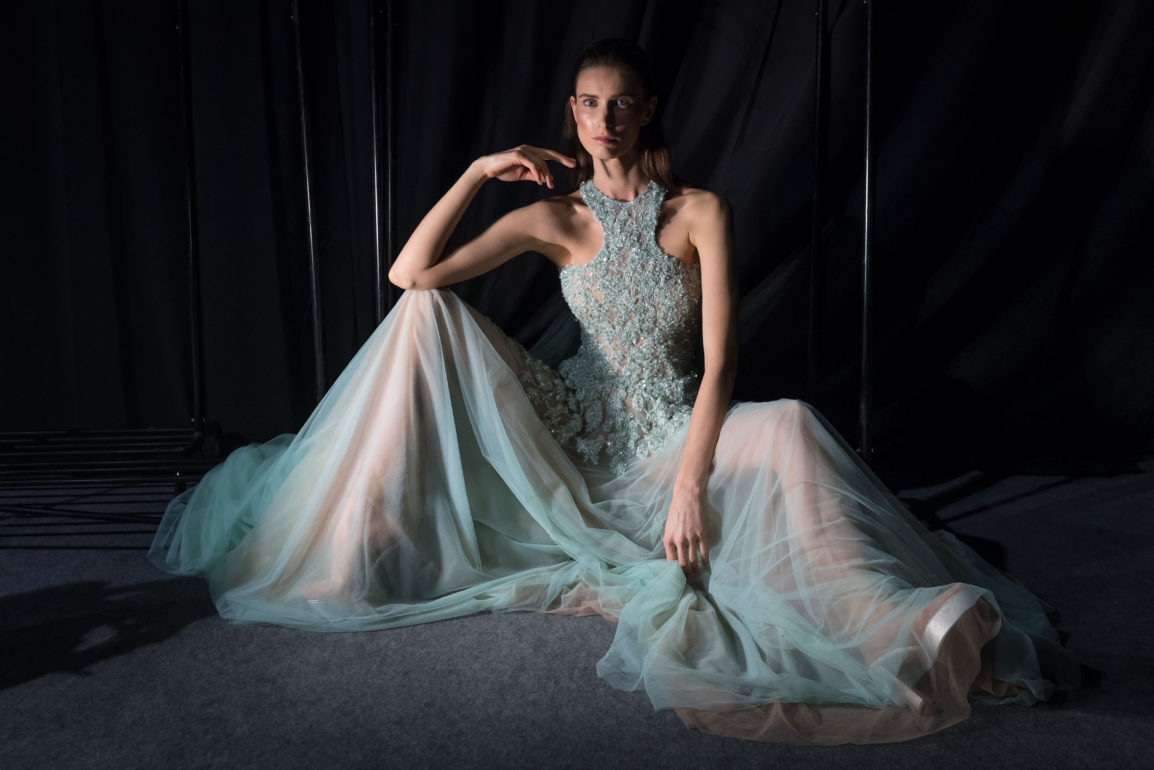 A model backstage ahead of the Abed Mafouz Presented by Lux show at Fashion Forward March 2017 held at the Dubai Design District on March 24, 2017 in Dubai, United Arab Emirates.