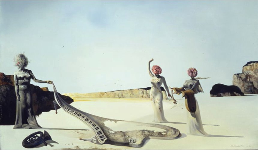 Three Young Surrealist Women Holding in their Arms the Skins of an Orchestra,1932, ©Salvador Dalí. FundacióGala-Salvador Dalí(ARS).