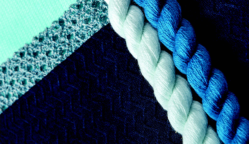 tollegno 1900 - blue yarns and fabrics