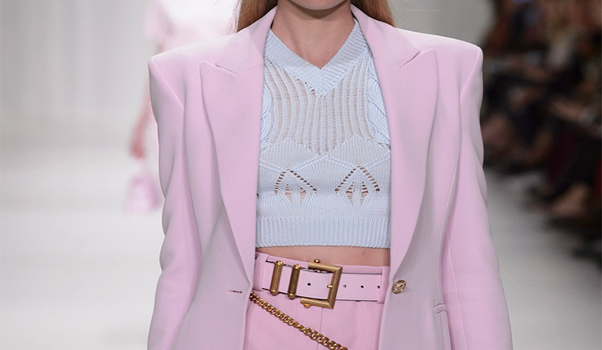 outfit pink and white, with a lace shirt