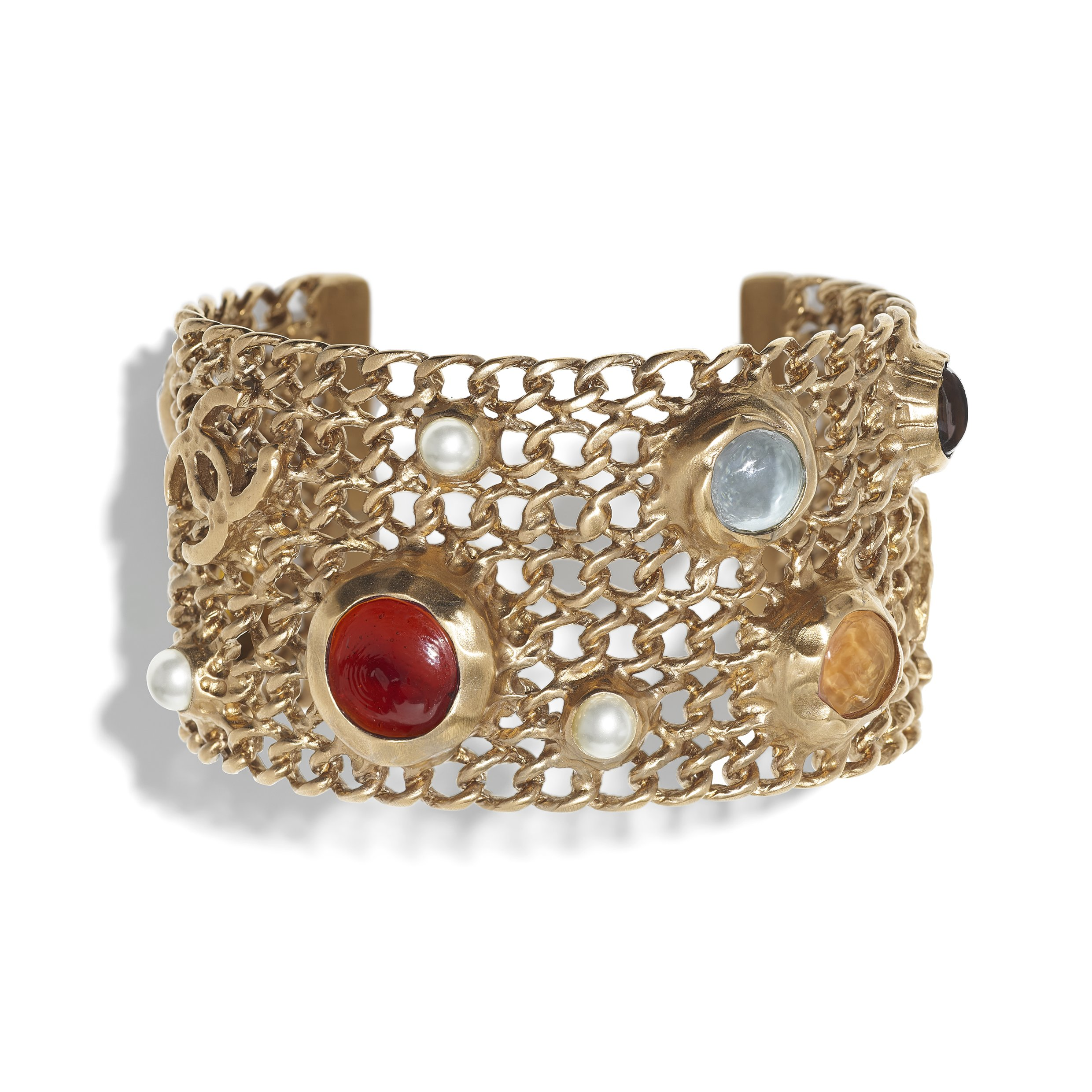 AB0269-Y47391-Z8821 - Cuff in gold metal with glass beads