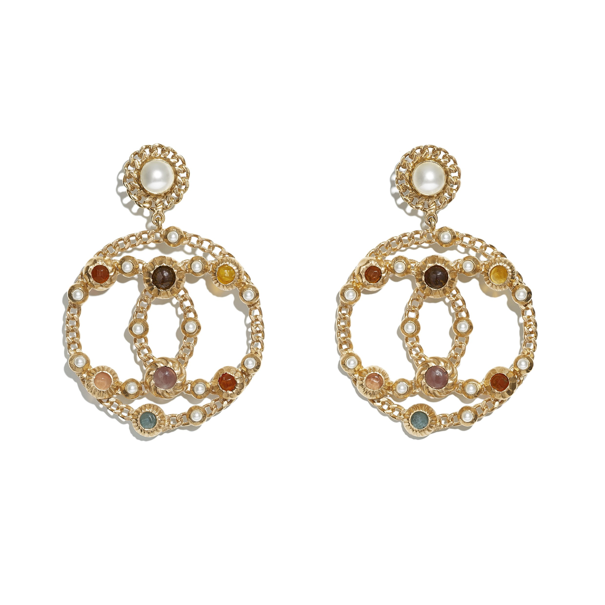 AB0270-Y47391-Z8820 - Earrings in gold metal with glass beads