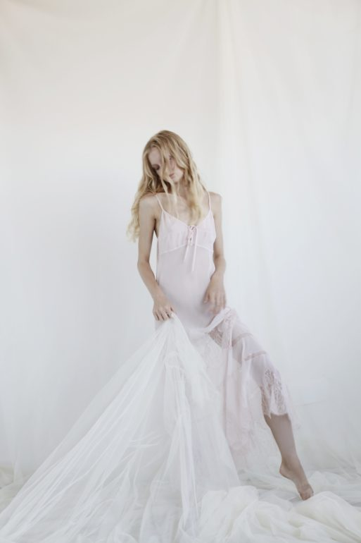 ANNAGIULIA FIRENZE pink silk long dress